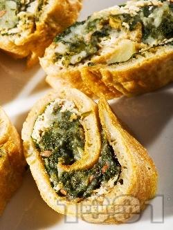 Палачинково руло от царевично брашно със спанак и картофи - снимка на рецептата
